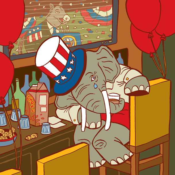 Post 2012 US Election blues, starring a sad GOP elephant