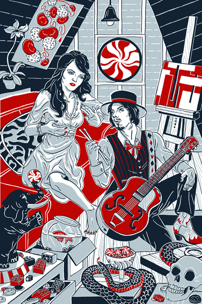 White Stripes tribute art full of album imagery
